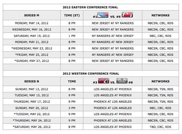 Your 2012 Stanley Cup Playoff Conference Final TV schedules