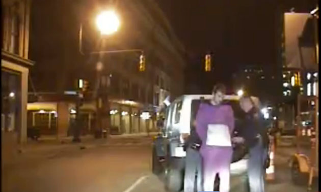 Riley Sheahan arrest video, 'super drunk' and dressed as a purple Teletubby (VIDEO)