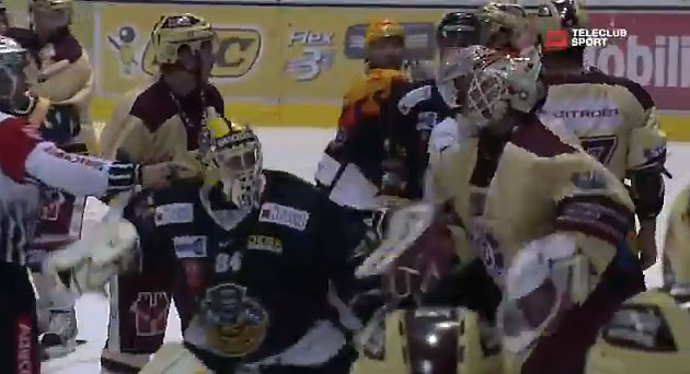 Hockey brawl, goalie fight in Swiss league game that had wild finish, orange tossing (VIDEO)