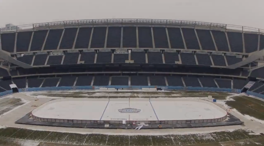 Watch time-lapse video of Soldier Field change from football field to hockey rink (VIDEO)