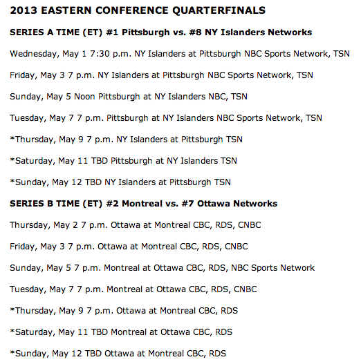 Your 2013 Stanley Cup Playoff first-round TV schedule