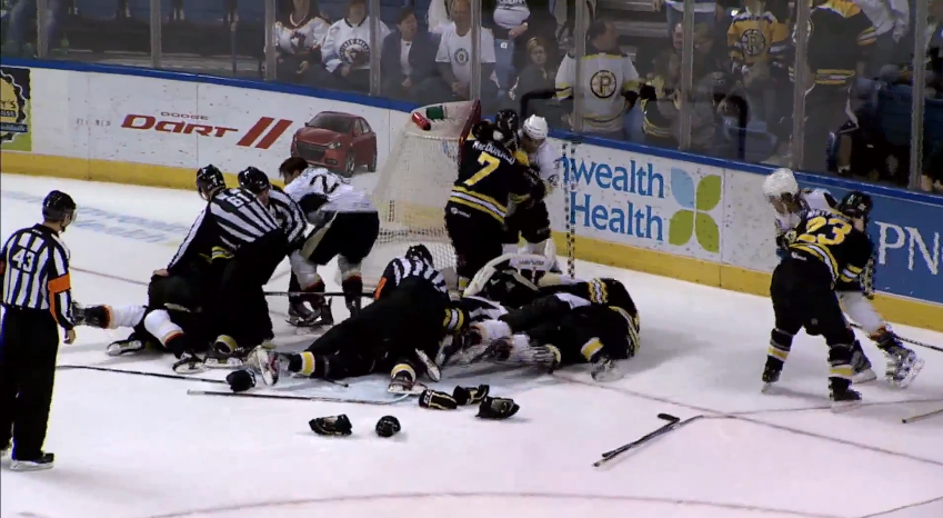 Watch Providence Bruins and Wilkes-Barre/Scranton Penguins brawl during AHL playoffs (Video)