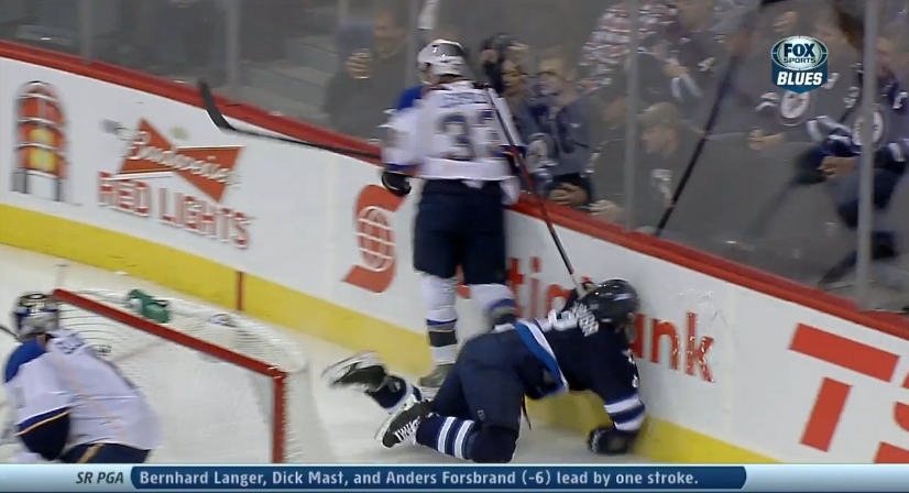 Jacob Trouba leaves game on stretcher after face-first fall into boards (Video)