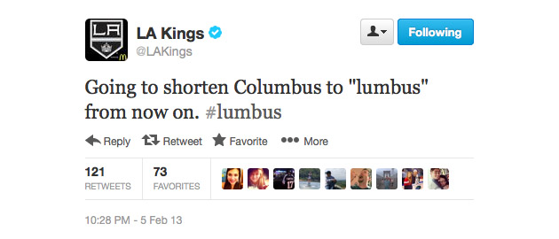 Twitter's oddest hockey Bromance: Los Angeles Kings and #Lumbus Blue Jackets