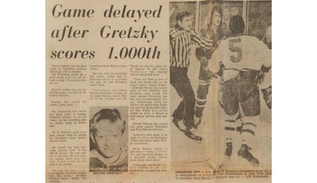 How much would you pay for the stick from 13-year-old Wayne Gretzky's 1000th goal?