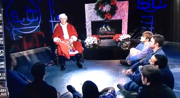 NHL lockout has reduced Barry Melrose to dressing as Santa, rambling to ESPN staffers (VIDEO)