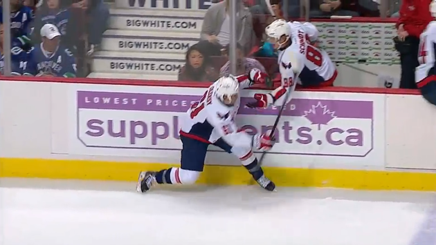 Capitals' Steven Oleksy breaks skate blade, then things get really awkward (Video)