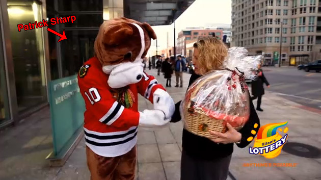 Blackhawks' Patrick Sharp dresses up like a dog for Valentine's Day surprise (VIDEO)