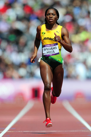 Williams-Mills runs at the London Olympics. (Getty)