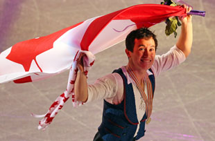 Patrick Chan celebrates. (Getty)