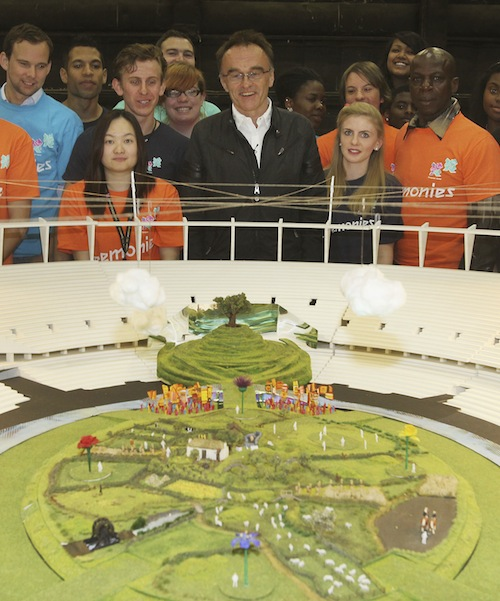Danny Boyle with a model of Olympic Stadium (LOCOG)