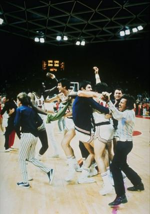 Team USA enjoys a brief moment of elation when they thought they had beaten the Soviets (AP)
