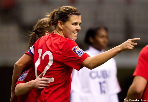 Christine Sinclair and her Canadian teammates will play Mexico for an Olympic berth Friday.