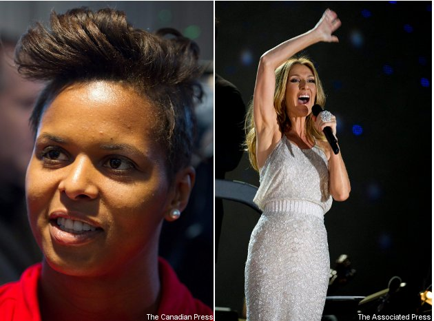 Karina Leblanc (L) and her Canada teammates draw inspiration from Celine Dion (R).