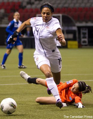 Leroux rounding Guatemala's Maricruz Lemus to score one of her five goals Sunday.