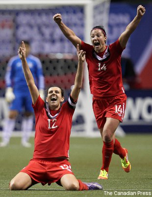Canada's Christine Sinclair (foreground) and Melissa Tancredi celebrate Friday's win.