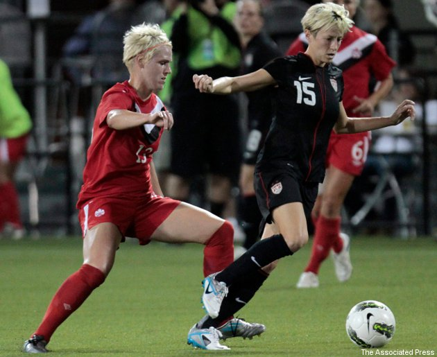 Canada's Sophie Schmidt battles the Americans' Megan Rapinoe in a September friendly.