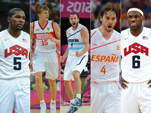 The top five performers of the men's basketball tournament at the 2012 Summer Olympics. (Getty Images)