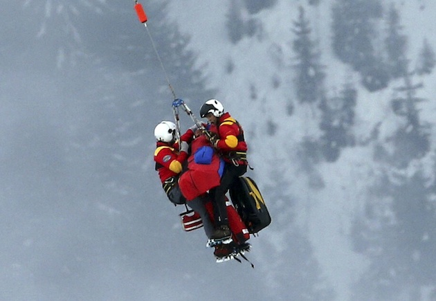 Lindsey Vonn receives an airlift rescue on Tuesday. (AP)