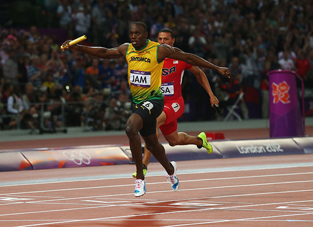 Usain Bolt in front, as usual. (Getty Images)