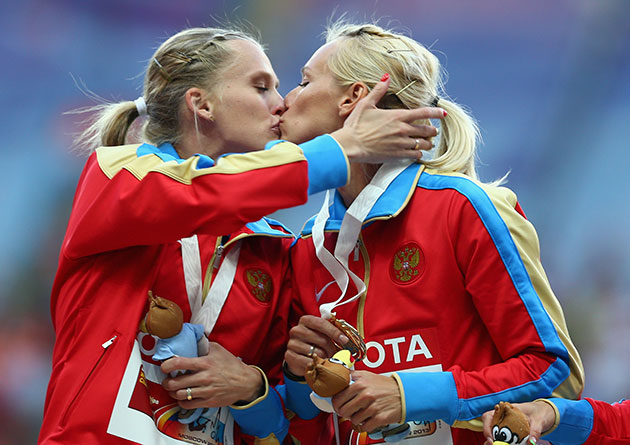Yulia Guschina, Kseniya Ryzhova celebrate victory. (Getty Images)