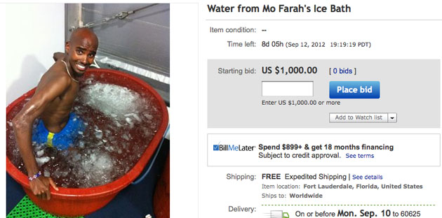 Buy the water from Mo Farah's ice bath, if you're feeling extra creepy