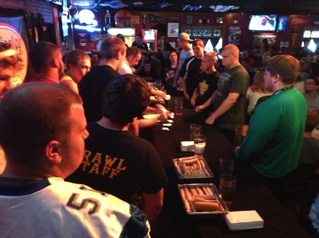 A lot of Ohio prep football lineman and even more hot dogs at Hooley House — Twitter