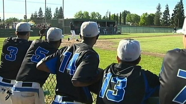Members of the Valley High baseball team, which saved a girl trapped under a car — KCRA screenshot