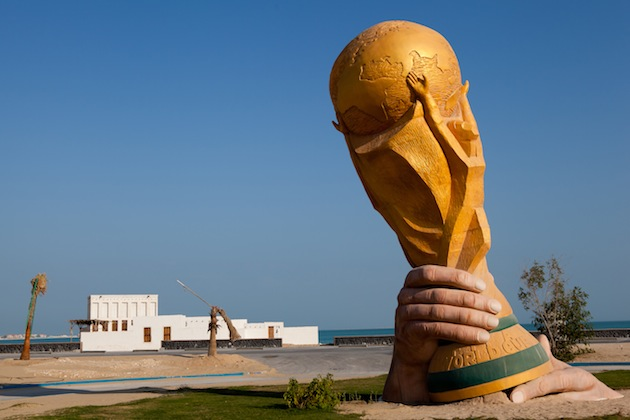 A large statue of the World Cup trophy in Doha, Qatar. (Getty)