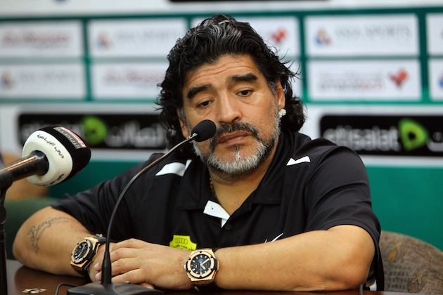 Maradona knows what time it is everywhere. Even in space. (Getty)
