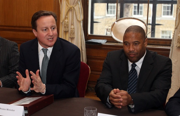 Prime Minister David Cameron with Barnes at the Racism in Football Summit in February. (Getty)