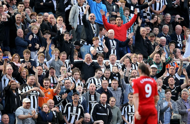 Newcastle fans say goodbye to Andy Carroll. (Getty)