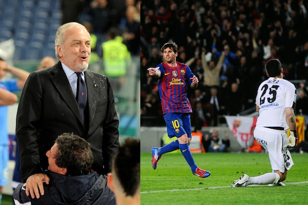 De Laurentiis looking impressed by Messi's lack of tattoos. (Getty)
