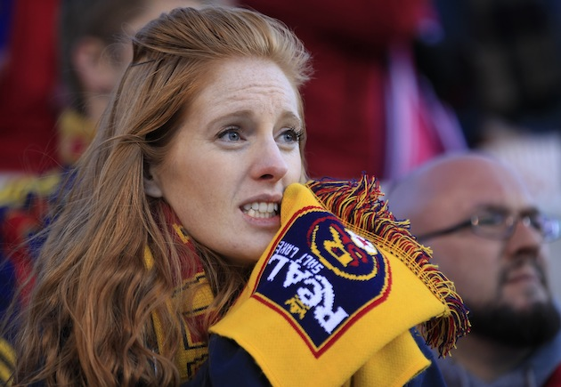 A female MLS fan caring more about the game than Simon Borg's opinions. (Getty)