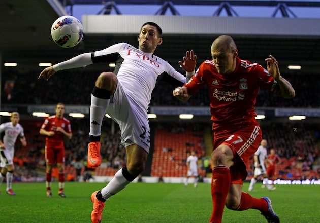 Clint Dempsey plays against Liverpool in a simpler time. (Getty)