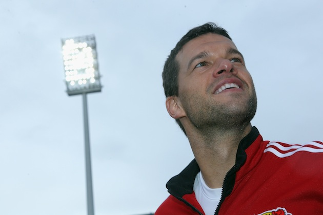 The last time you'll see Michael Ballack's nose hair on a football pitch. (Getty)