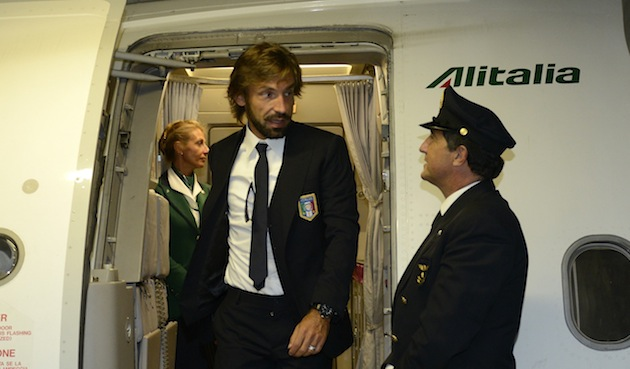 Bearded Andrea Pirlo: unofficial sky marshal.
