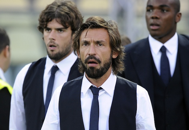 Bearded Andrea Pirlo contemplates. (Getty)