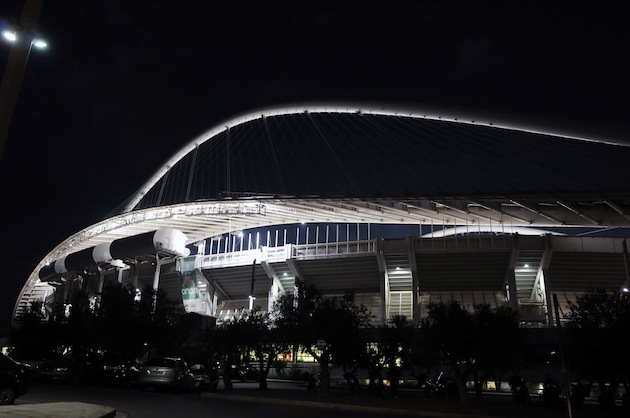 The Olympic Stadium, home of Panathinaikos, with the lights on. (Getty)