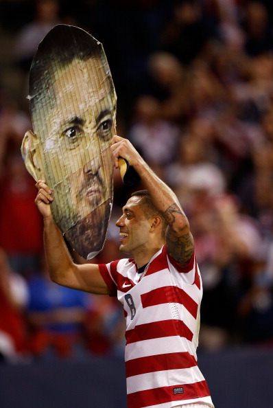 Clint Dempsey and Giant Clint Dempsey head combine for ultimate power. (Getty)