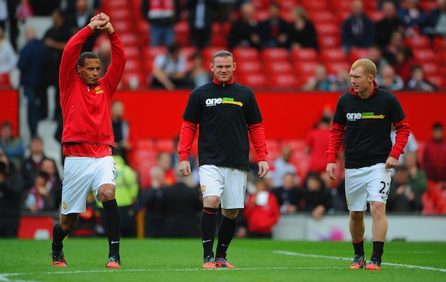 Rio Ferdinand with more compliant teammates Wayne Rooney and Paul Scholes. (Getty)