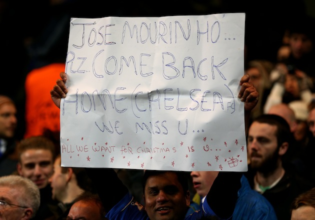 """(Chelsea)"" specified so Mourinho doesn't get confused and go back to Portugal. (Getty)"