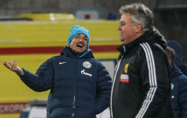 Foreign coaches Luciano Spalletti of Zenit and Guus Hiddink of Anzhi. (Getty)