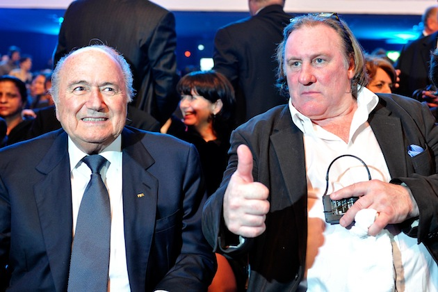 No, Gerard Depardieu, this photo is not thumbs up. (Getty)