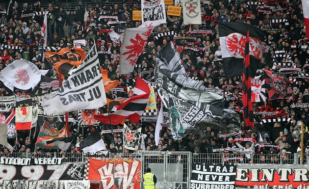Eintracht Frankfurt fans waving flags instead of xylophones. (Getty)