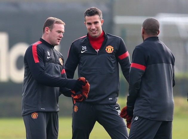 Rooney convinces Van Persie that Ashley Young is the father of Kate Middleton's baby. (Getty)