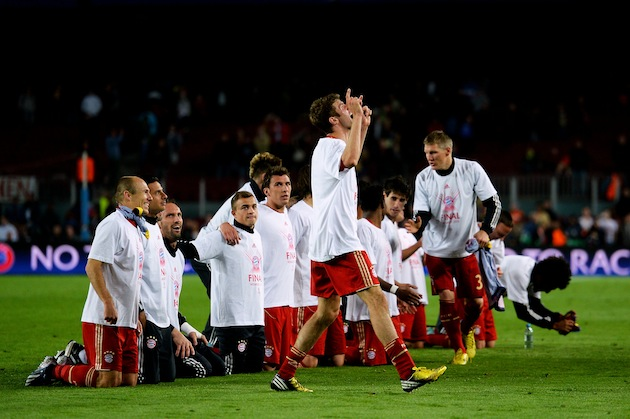 Bayern players on their knees, begging forgiveness for dominating yet again. (Getty)