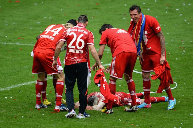 Ribery gets doused again, this time without a fight. (Getty)