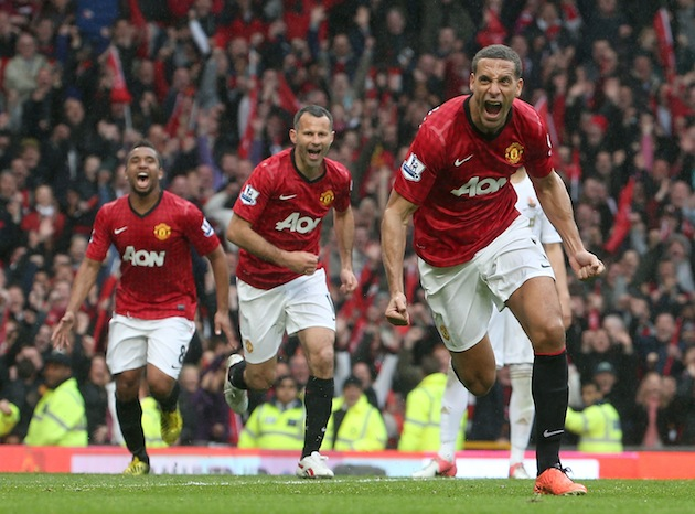 Ferdinand celebrates his winner. (Getty)