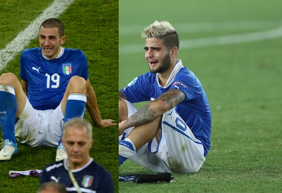 Leonardo Bonucci in 2012 (left) and Lorenzo Insigne in 2013. (Getty)
